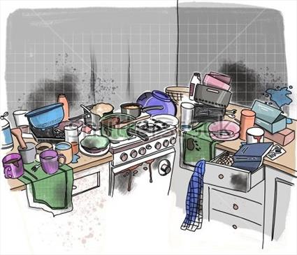 Illustration of dirty kitchen