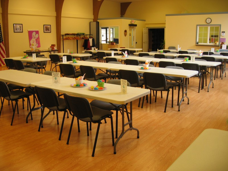 Enrichment Center interior with tables