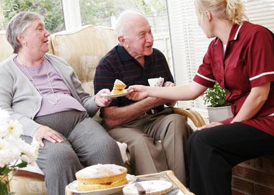 Image of seniors with home care workers